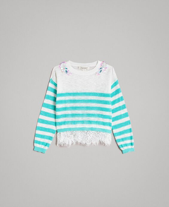 Striped jumper with lace flounce