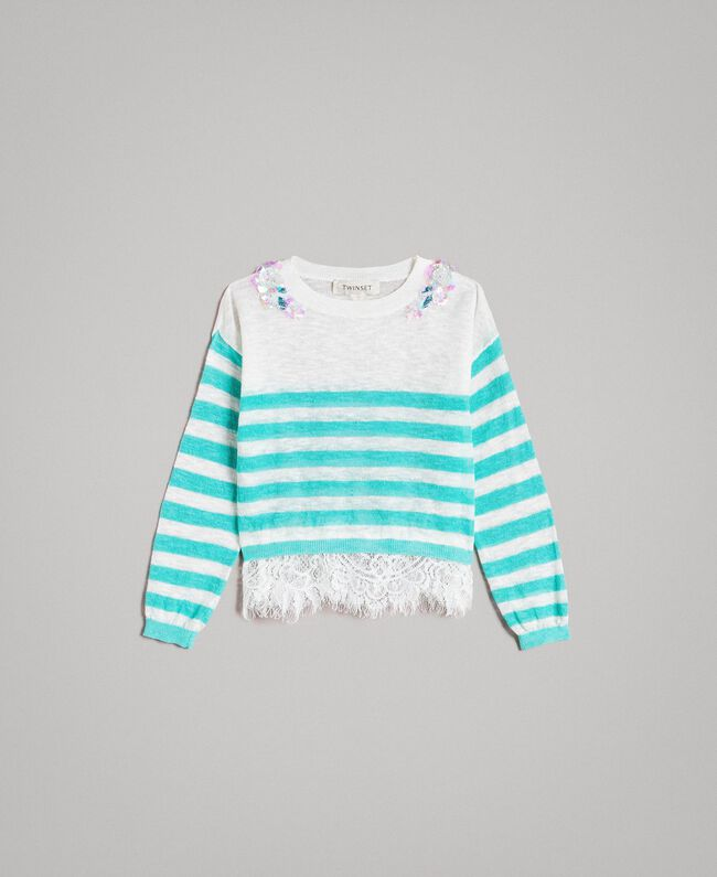 "Striped jumper with lace flounce ""Island Paradise"" Light Blue / Off White Striping Child 191GB3080-01"