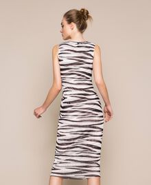 Animal print tulle sheath dress Zebra Print Woman 201TQ201D-03