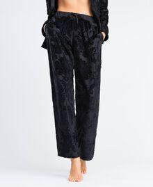 Pantalon en velours jacquard dévoré Noir Femme LA8JEE-0S
