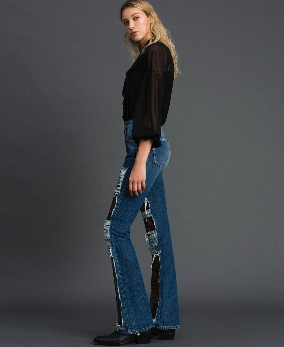 Bell bottom jeans with lace Denim Blue Woman 192MT2450-02