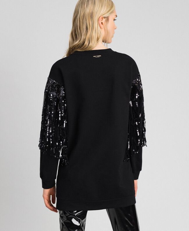 Maxi sweatshirt with sequinned fringes Black Woman 192MT2160-03