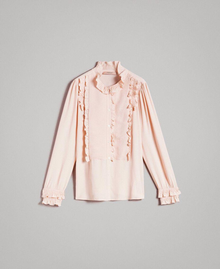 Rüschen-Hemd aus Seide-Mix Blütenknospenrosa Frau 191TP2134-0S