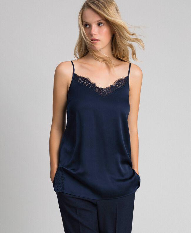 Top avec dentelle et boutonnière latérale Bleu Nuit Femme 192ST2093-01
