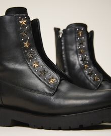 Leather combat boots with studs Black Woman 202TCP146-04