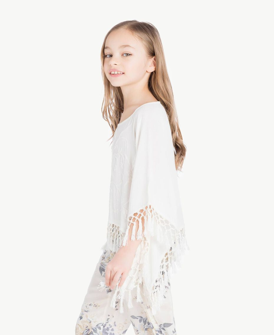 Fringed poncho Pale Cream Child GS82NB-03