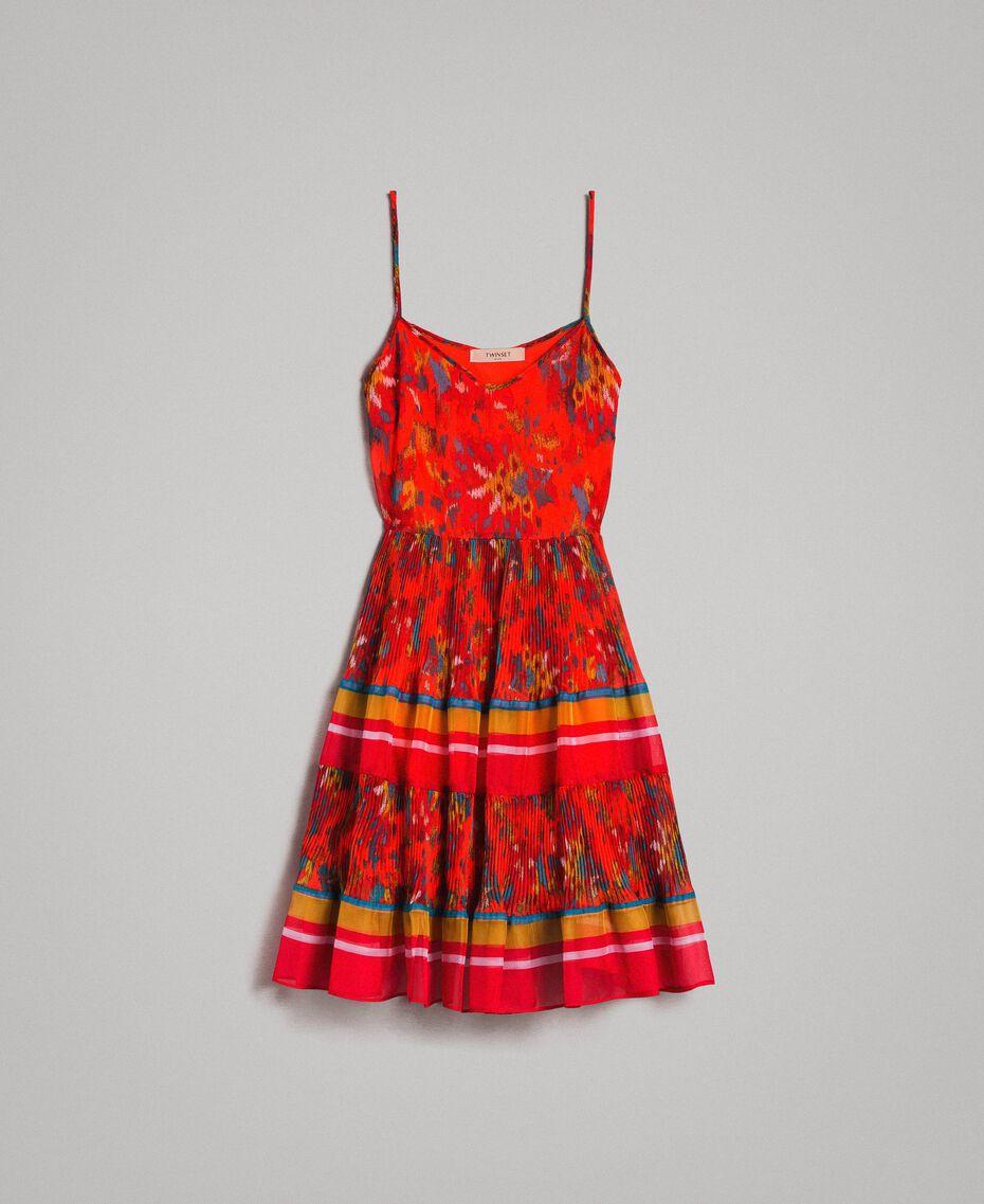 Floral print chiffon dress Multicolour Chiné / Grenadine Striping Woman 191TT2364-0S