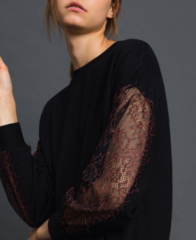Robe en molleton avec dentelle bicolore Noir Femme 192LI24CC-01