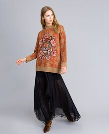 Maxi wool and jacquard lurex jumper Flower and Tiger Jacquard Woman TA83Z1-01