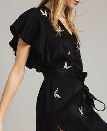 Robe en satin avec broderie papillons Noir Femme 191TT2114-04