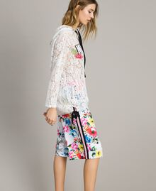 Printed fleece cropped trousers All Over Optical White Multicolour Flowers Print Woman 191MT2362-02