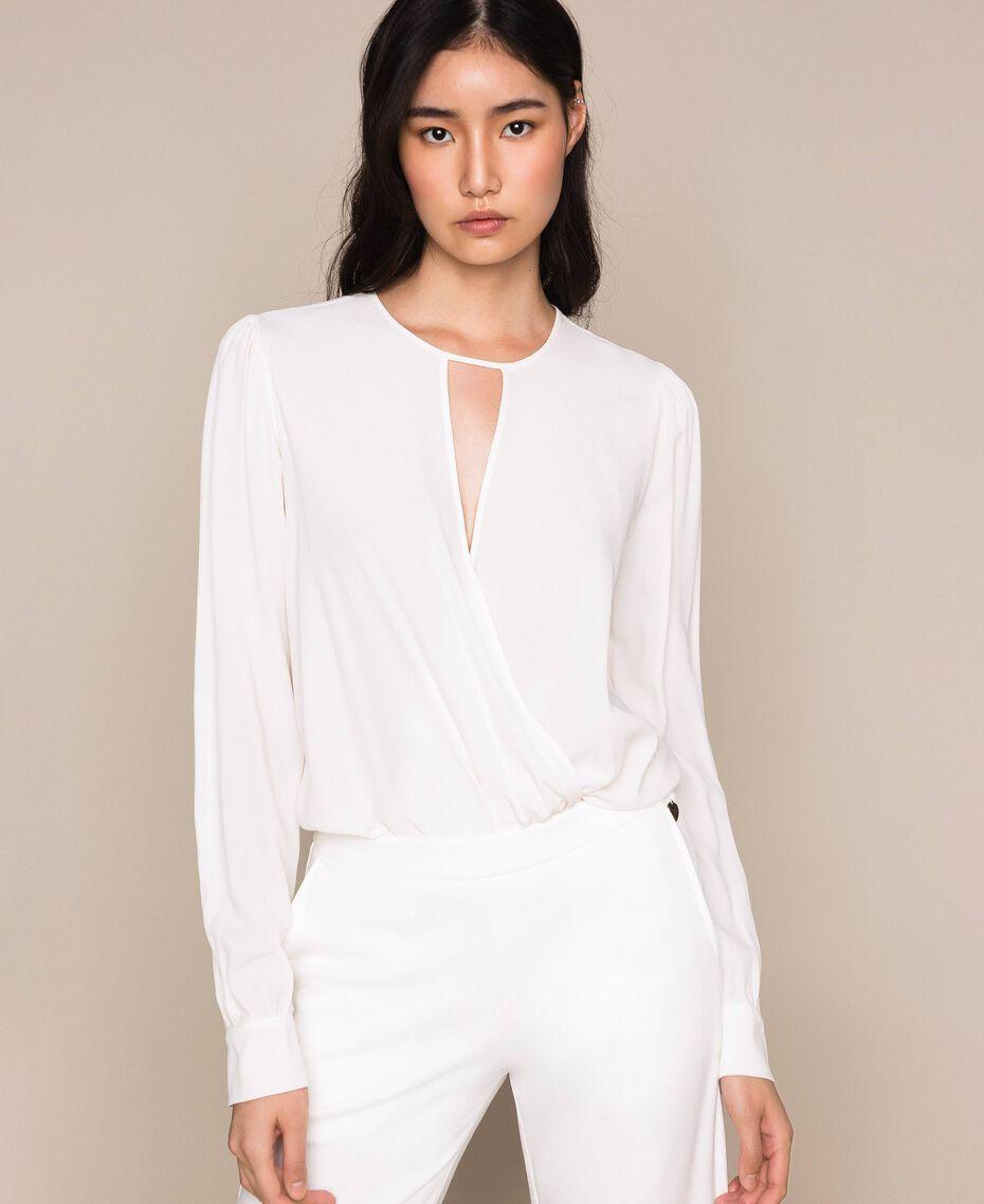 Body blouse body en soie mélangée Blanc Neige Femme 201TP2504-01