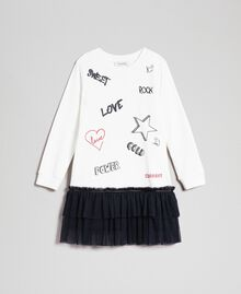 Dress with tulle, mesh and lace flounces White / Black Child 192GJ2431-0S