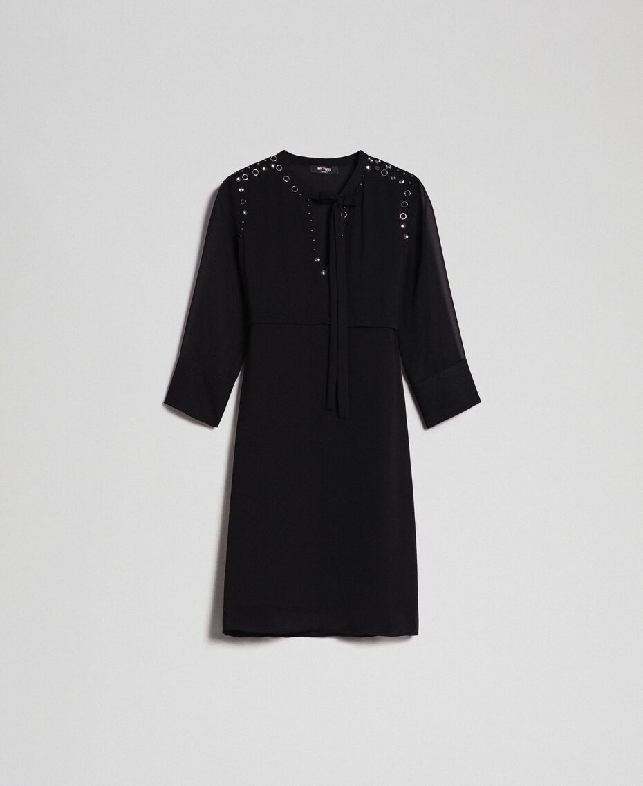Georgette dress with stones and beads Black Woman 192MP2480-0S
