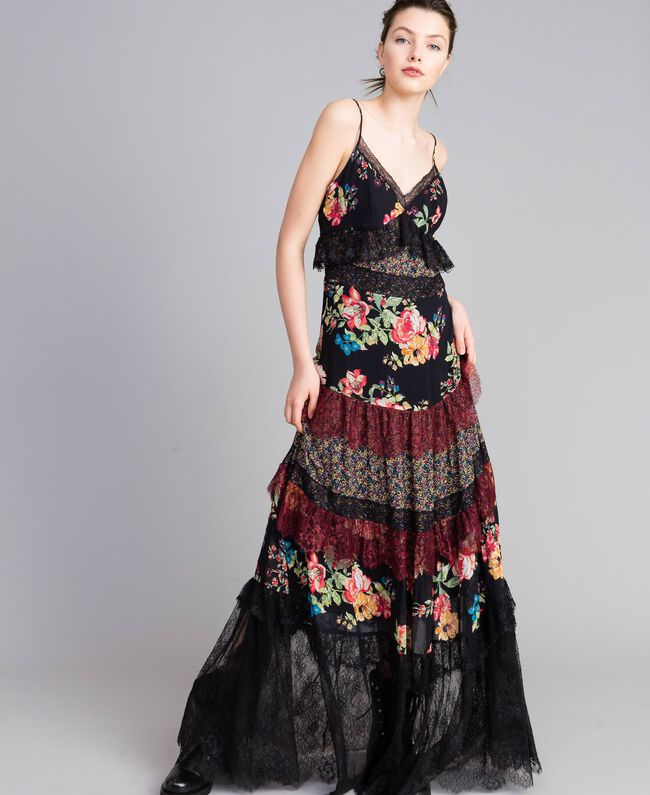 Floral print georgette long dress Flower Patch Print Woman PA82PB-01