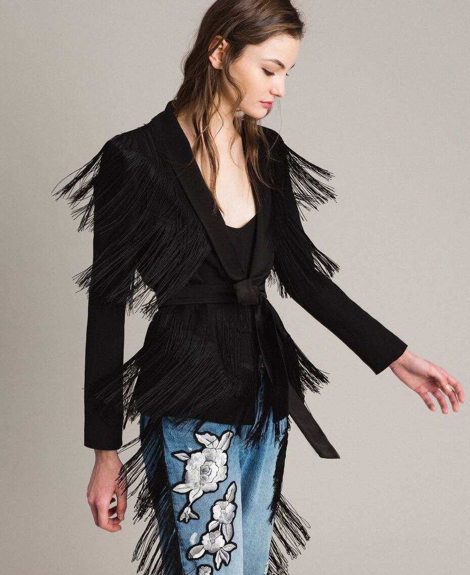 Blazer with fringes Black Woman 191TT2380-02