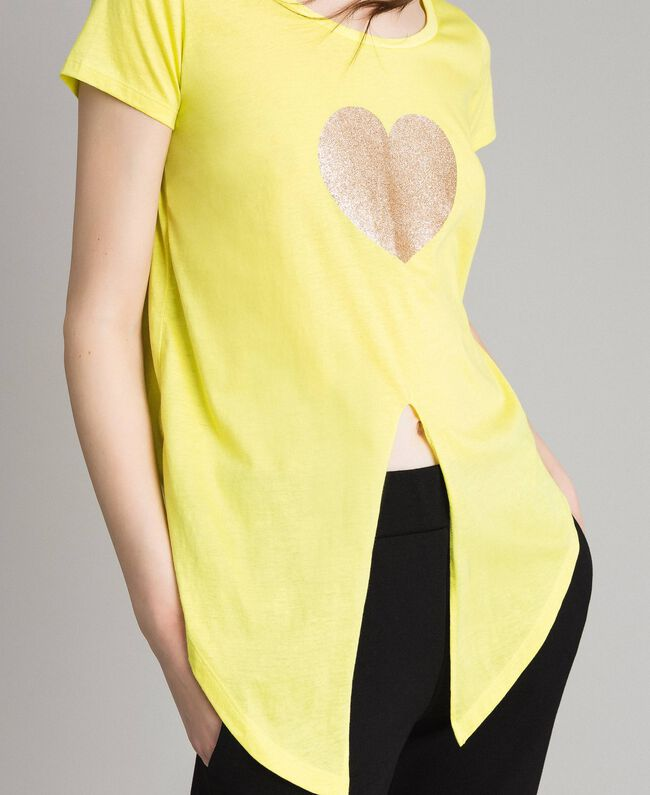 """Cropped T-shirt with heart """"Lemon Juice"""" Yellow Woman 191LB23MM-04"""