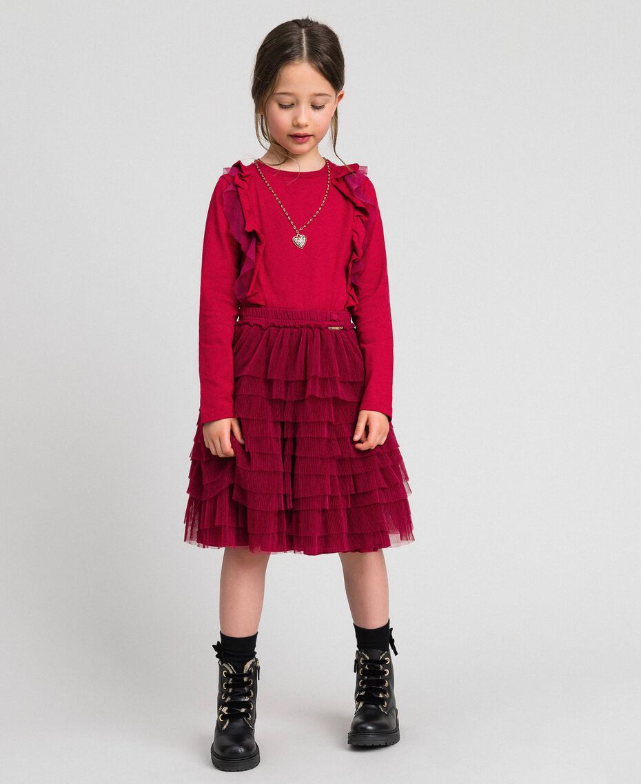 Pleated flounce tulle skirt Ruby Wine Red Child 192GJ2113-01