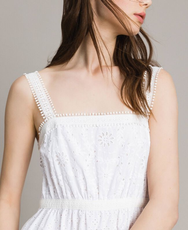 Broderie anglaise long dress with flounce White Woman 191MT2033-04