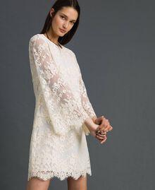 Kurzes Kleid aus Spitze Cremefarben Frau 192LI21EE-02