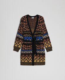 Cardigan en laine et mohair avec motifs jacquard Jacquard Mélange Géométrique Animalier Femme 192ST3191-0S