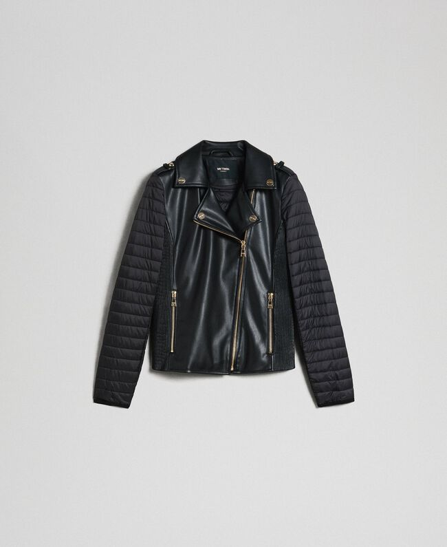Faux leather biker jacket Black Woman 192MP2023-0S