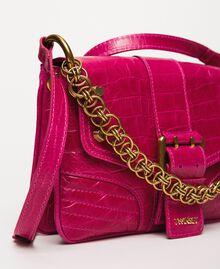 "Small Rebel shoulder bag with croc print ""Black Cherry"" Red Croc Print Woman 201TA7111-03"