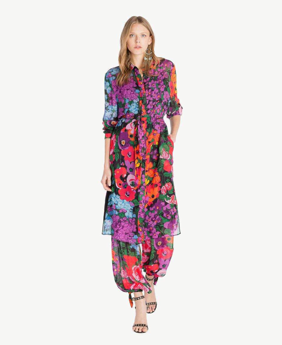 Printed jogging trousers Sixties Style Flower Print Woman TS824H-05