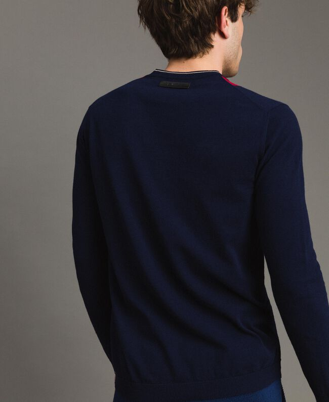 "Crêpe cotton jumper with inlay pattern Multicolour ""Blackout"" Blue / ""Dark Raspberry"" Red / Beige Porcelain Man 191UT3020-03"