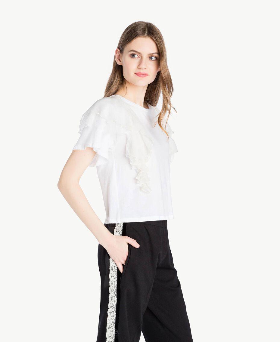 Flounced T-shirt White Woman PS82UB-02