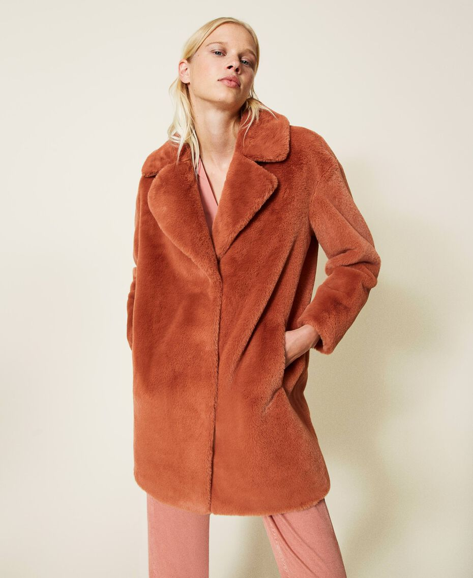 """Single breasted coat with pockets """"Tan Powder"""" Brown Woman 212TP2230-02"""