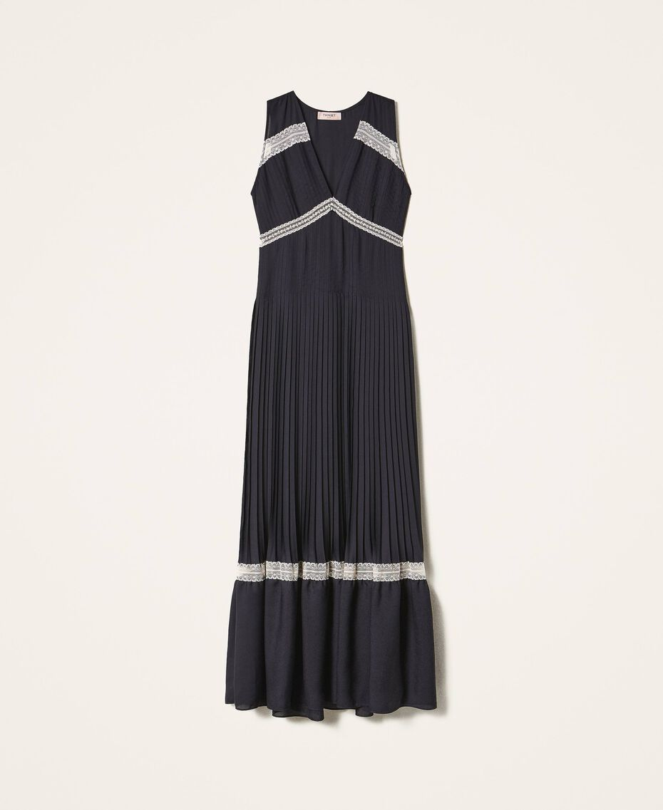 Pleated long dress with lace Black Woman 202TP2133-0S