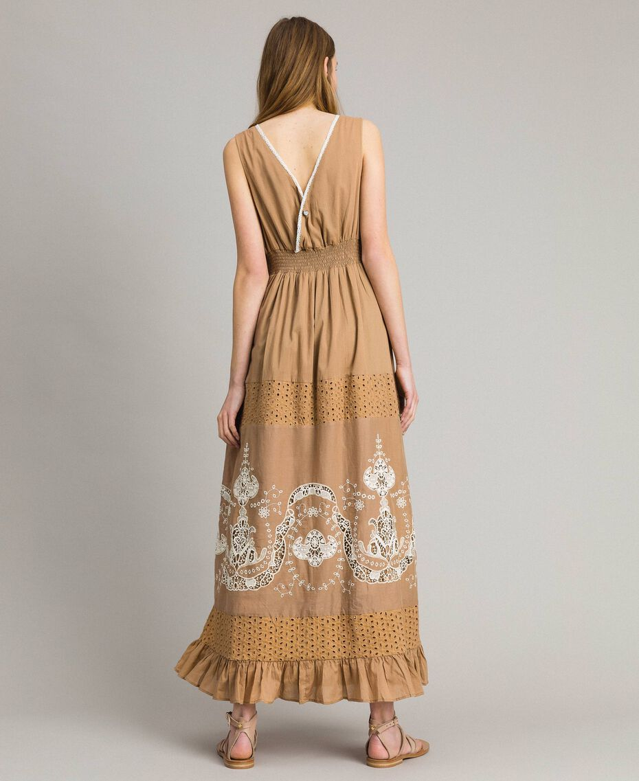 """Voile long dress with broderie anglaise embroidery Two-tone """"Savannah"""" Beige / Ecru Woman 191ST2114-03"""