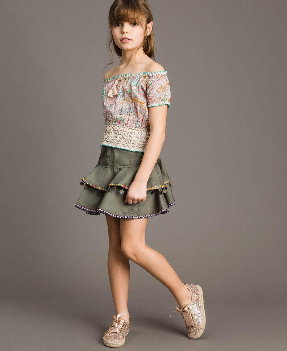 Jupe en coton avec mini médailles Vert Toundra Enfant 191GJ2071-02