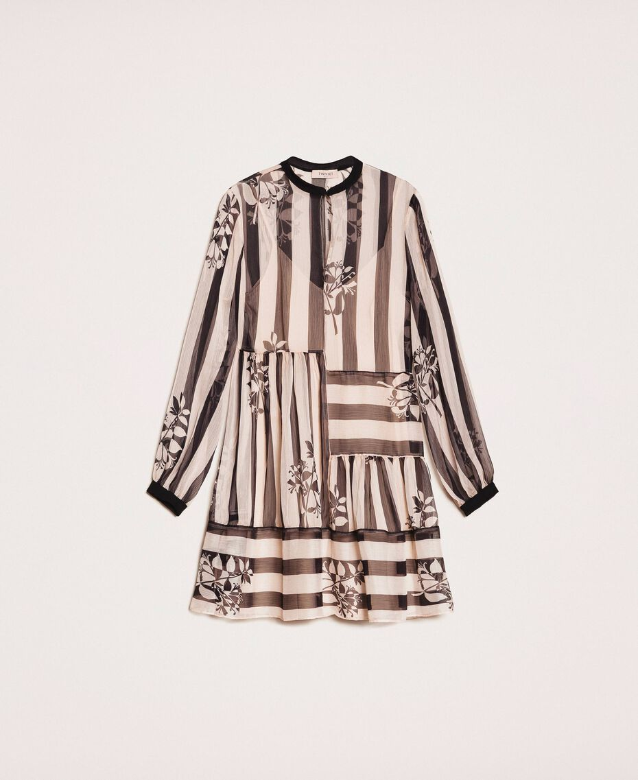 Creponne dress with stripes and flower print Floral Print over Snow/ Black Stripes Woman 201TP2301-0S