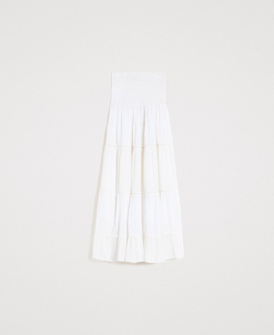 Skirt-dress with broderie anglaise White Woman 191LB2EDD-0S