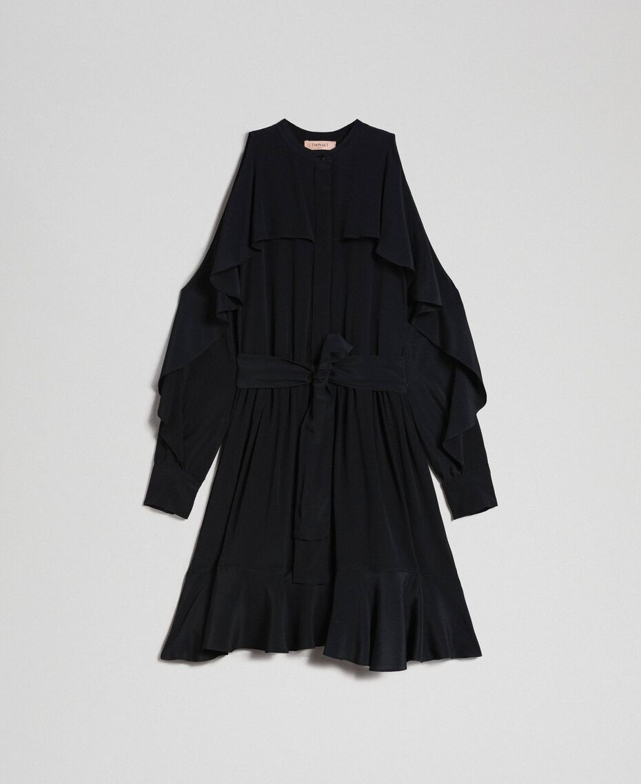 Crêpe de Chine dress with frills Black Woman 192TT2436-0S