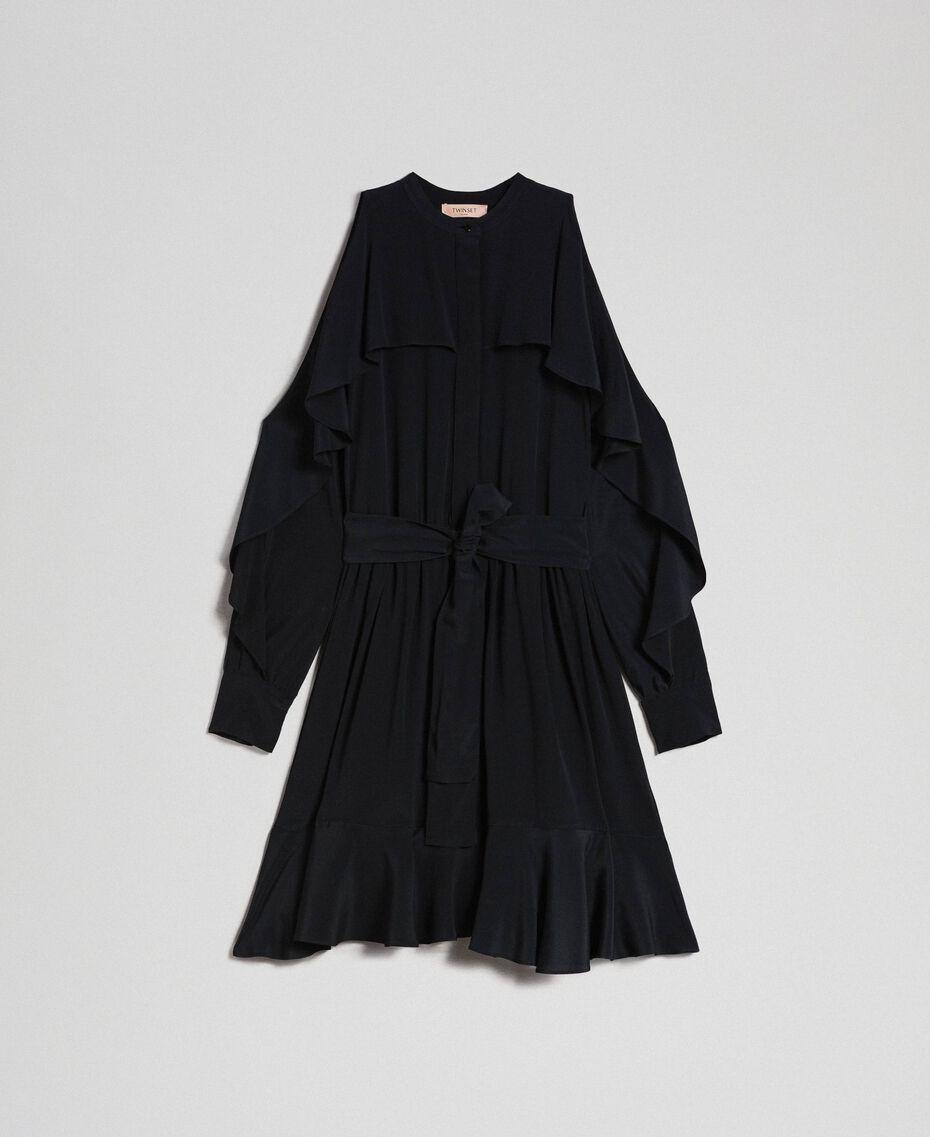 Kleid aus Crêpe de Chine mit Rüschen Schwarz Frau 192TT2436-0S