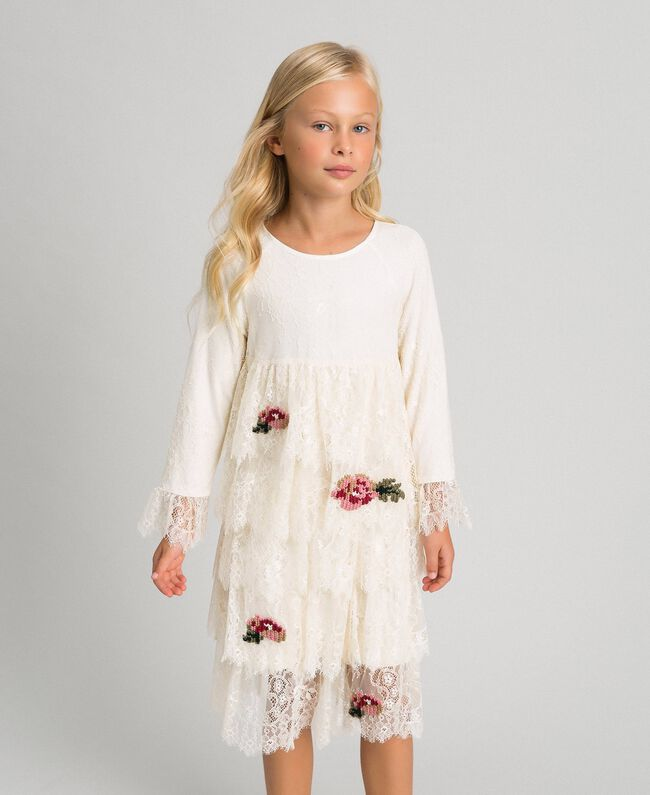 Chantilly lace dress with embroidered roses Pale Cream Child 192GJ2670-01