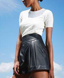 High waist faux leather shorts Black Woman 202TP2060-03