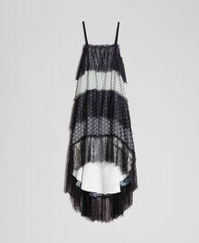 Robe longue en crêpe georgette imprimé avec dentelle Imprimé Mélange «Air de Neige» Noir et Vanille Femme 192MT2393-0S
