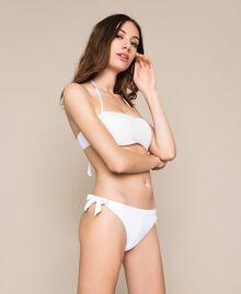Tanga de bain noué avec logo Blanc Femme 201LMMN88-01
