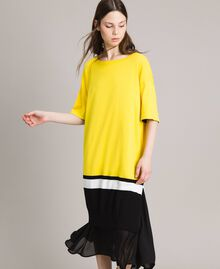 "Long dress with slip Two-tone ""Freesia"" Yellow / Black Woman 191MP3053-01"