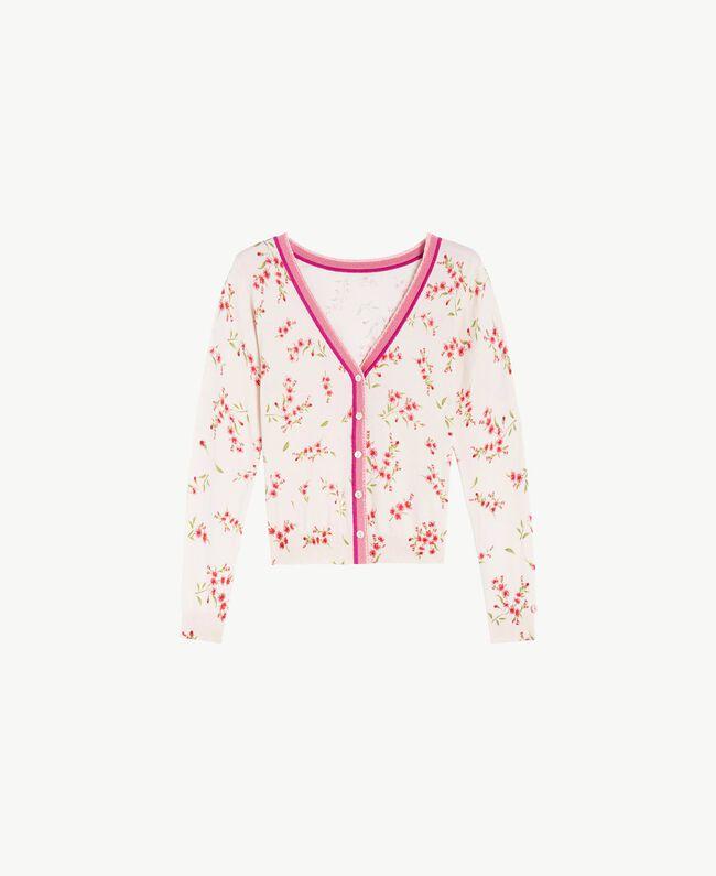 "Printed cardigan ""Peach Powder"" Pink Microflower Print Woman LS8BTT-01"