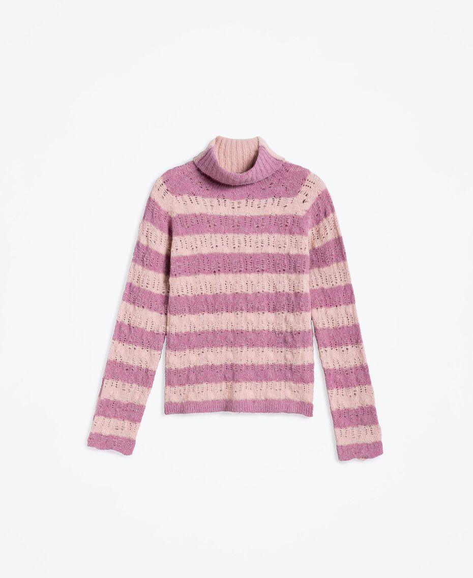 Pullover aus Wollmischung mit Streifenmuster Zweifarbig Zartrosa / Barockrosa Frau LA8PCC-01