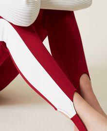 """Leggings bicolore con ghette Bicolor Lampone Scuro / Bianco """"Neve"""" Donna 212TP2163-04"""