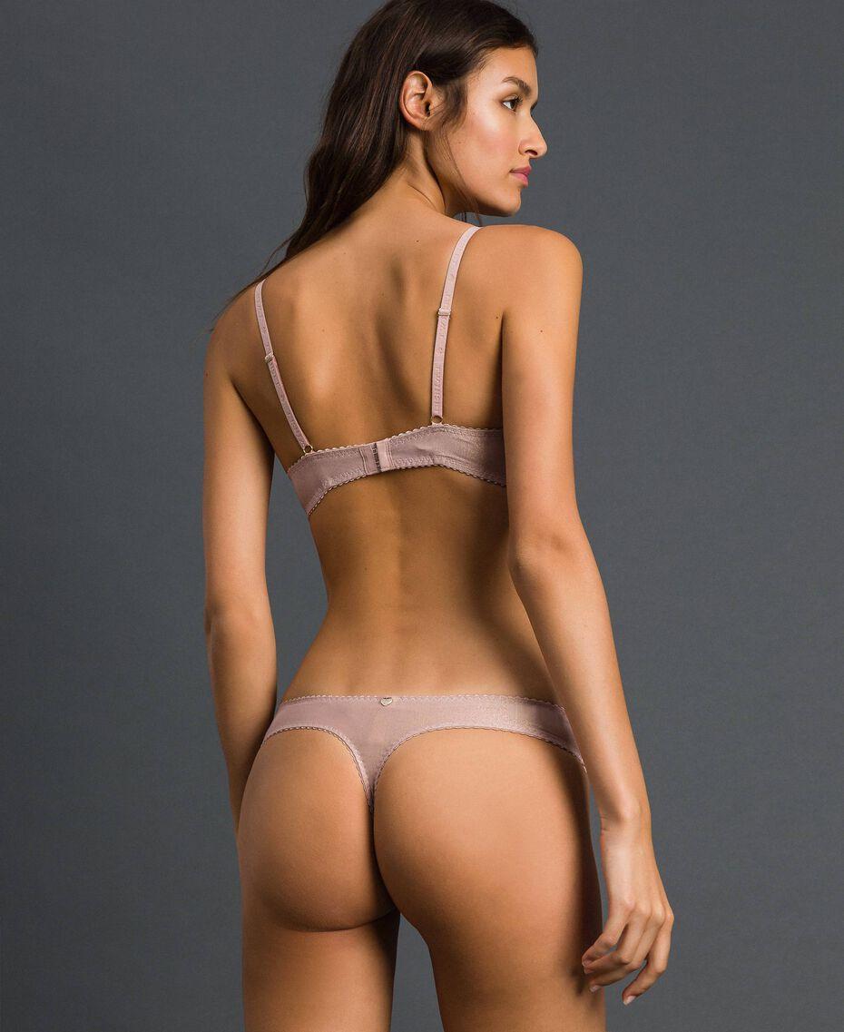 String en lurex avec dentelle incrustée Rose «Pêche» Lurex Pâle Or Femme 192LL6B88-03