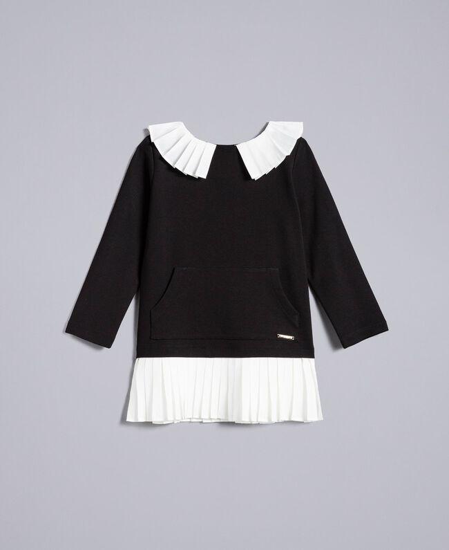 Kleid aus Interlock-Jersey Zweifarbig Schwarz / Off White Kind FA82FN-01