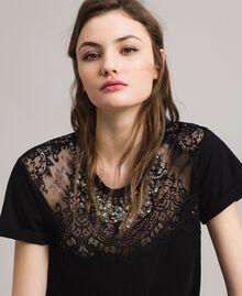 Lace and rhinestones T-shirt Black Woman 191TP2603-05