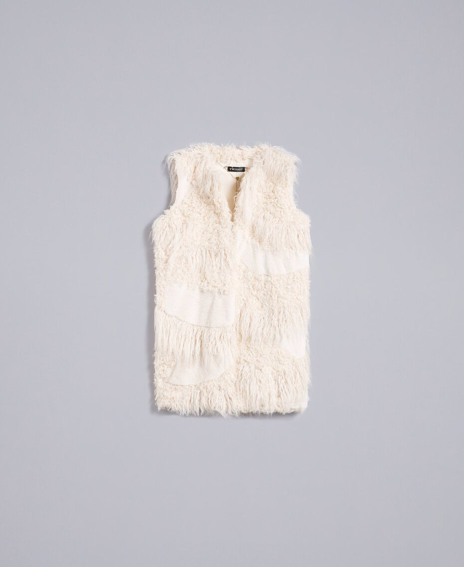 Gilet lungo in similpelliccia patch Bianco Neve Donna TA82A2-0S